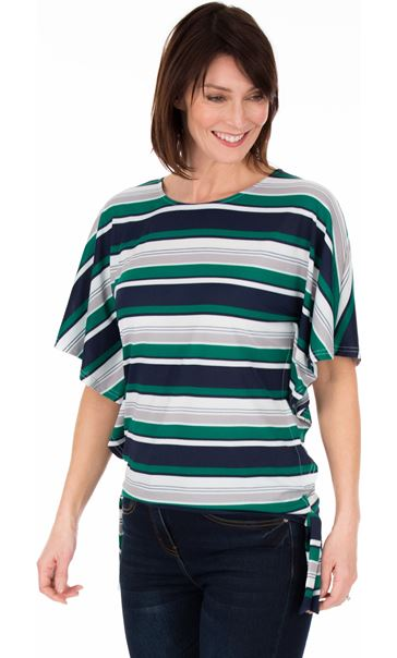 Striped Short Sleeve Jersey Top Emerald/Navy/White