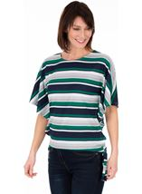 Striped Short Sleeve Jersey Top Emerald/Navy/White - Gallery Image 1