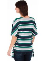 Striped Short Sleeve Jersey Top Emerald/Navy/White - Gallery Image 2