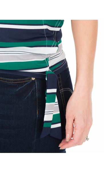 Striped Short Sleeve Jersey Top Emerald/Navy/White - Gallery Image 3