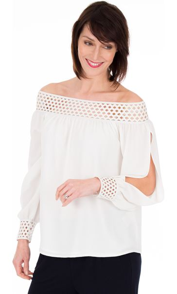 Off The Shoulder Bubble Crepe Top Ivory
