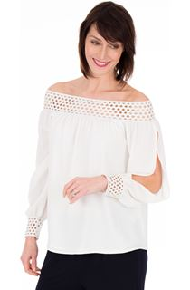 Off The Shoulder Bubble Crepe Top