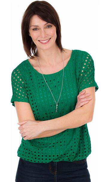 Layered Textured Top - Green