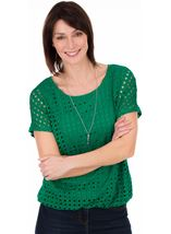 Layered Short Sleeve Top Emerald - Gallery Image 1