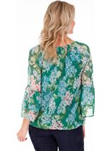 Floral Crinkle Chiffon Top Emerald/Multi - Gallery Image 2