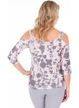 Cold Shoulder Print Top Pink Multi - Gallery Image 2
