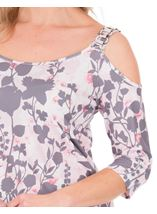 Cold Shoulder Print Top Pink Multi - Gallery Image 3