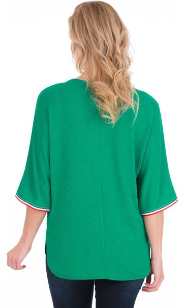 Braid Trim Loose Fit Knit Top Green - Gallery Image 2