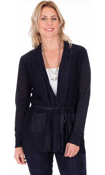 Sparkle Pleated Self Tie Cardigan Navy