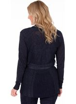 Sparkle Pleated Self Tie Cardigan Navy - Gallery Image 2