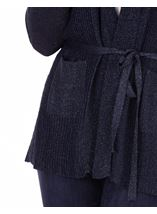 Sparkle Pleated Self Tie Cardigan Navy - Gallery Image 3