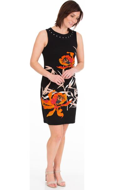 Printed Sleeveless Jersey Midi Dress Black/Orange