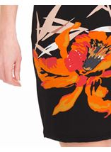 Printed Sleeveless Jersey Midi Dress Black/Orange - Gallery Image 3