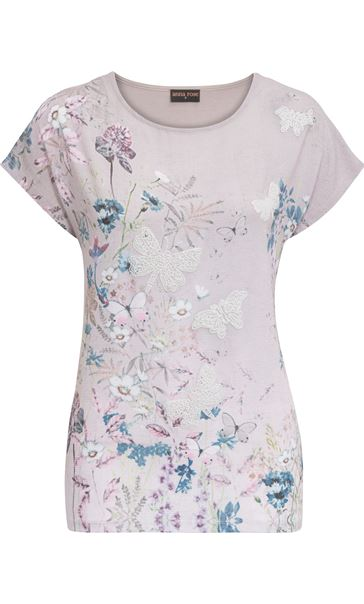 Anna Rose Garden Print Top Butterfly
