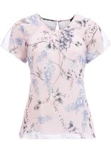 Anna Rose Bias Cut Georgette Top Soft Pink - Gallery Image 1