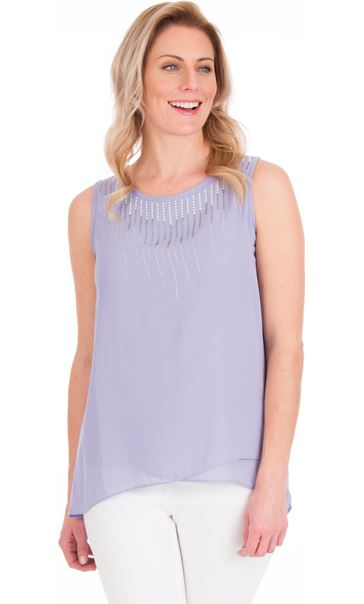 Sleeveless Embellished Sleeveless Top Lilac