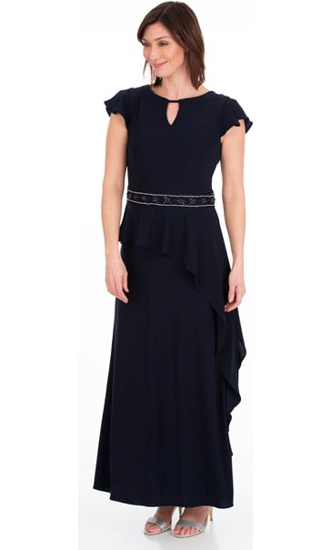 Short Frill Sleeve Maxi Dress Midnight