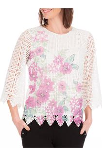 Anna Rose Printed Lace Front Top