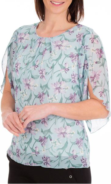 Anna Rose Tulip Sleeve Printed Chiffon Top Aqua./Purple - Gallery Image 1