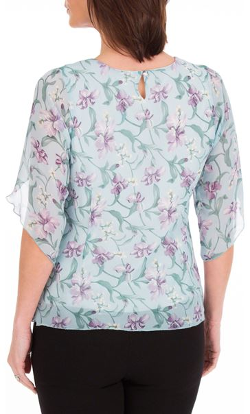 Anna Rose Tulip Sleeve Printed Chiffon Top Aqua./Purple - Gallery Image 2