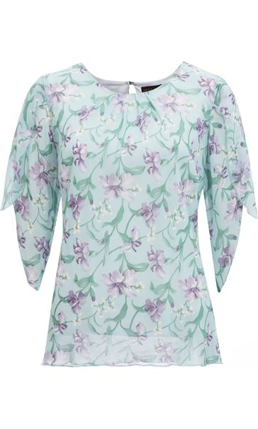 Anna Rose Tulip Sleeve Printed Chiffon Top Aqua./Purple - Gallery Image 4