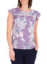 Anna Rose Textured Floral Print Top Lilac Multi - Gallery Image 2