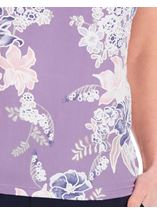 Anna Rose Textured Floral Print Top Lilac Multi - Gallery Image 4