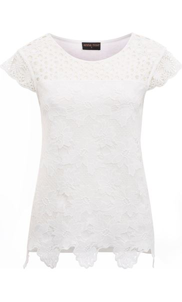 Anna Rose Lace Front Top Ivory