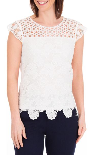 Anna Rose Lace Front Top Ivory - Gallery Image 2
