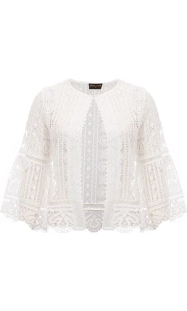 Anna Rose Crochet Three Quarter Sleeve Cover Up Ivory