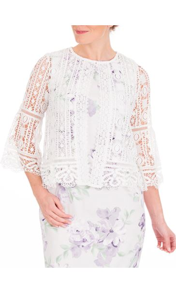 Anna Rose Crochet Three Quarter Sleeve Cover Up Ivory - Gallery Image 2