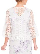 Anna Rose Crochet Three Quarter Sleeve Cover Up Ivory - Gallery Image 3