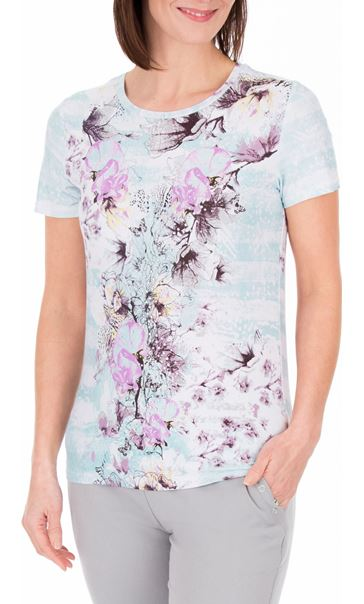 Anna Rose Floral Print Round Neck Jersey Top Aqua/Lilac
