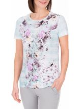 Anna Rose Floral Print Round Neck Jersey Top Aqua/Lilac - Gallery Image 1