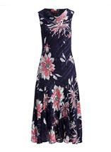 Anna Rose Bias Cut Floral Midi Dress Fuschia/Beige - Gallery Image 1