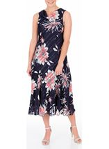 Anna Rose Bias Cut Floral Midi Dress Fuschia/Beige - Gallery Image 2