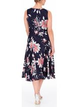 Anna Rose Bias Cut Floral Midi Dress Fuschia/Beige - Gallery Image 3