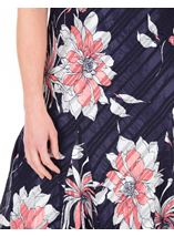 Anna Rose Bias Cut Floral Midi Dress Fuschia/Beige - Gallery Image 4