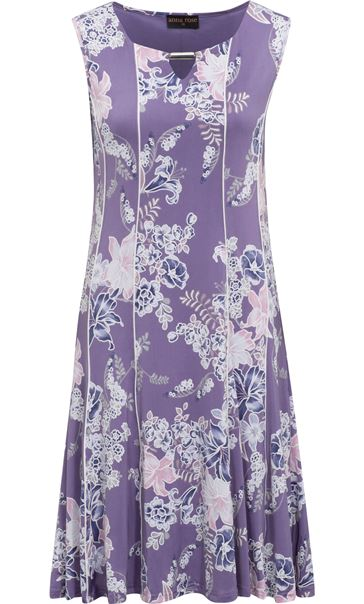 Anna Rose Panelled Floral Jersey Midi Dress Lilac Multi