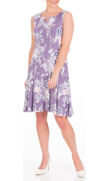 Anna Rose Panelled Floral Jersey Midi Dress Lilac Multi - Gallery Image 2