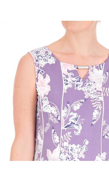 Anna Rose Panelled Floral Jersey Midi Dress Lilac Multi - Gallery Image 4