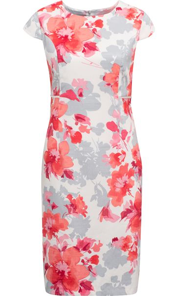 Anna Rose Fitted Print Midi Dress Ivory/Watermelon