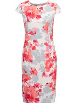 Anna Rose Fitted Print Midi Dress Ivory/Watermelon - Gallery Image 1
