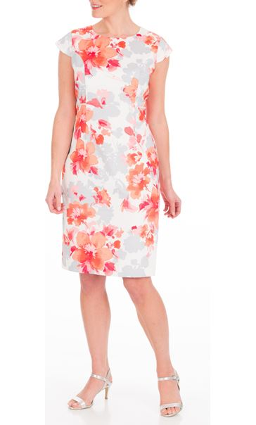 Anna Rose Fitted Print Midi Dress Ivory/Watermelon - Gallery Image 2