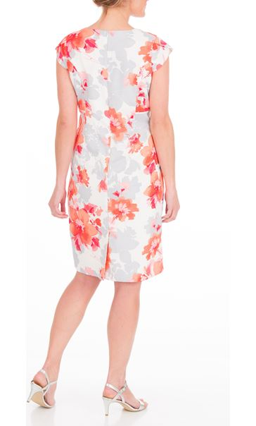 Anna Rose Fitted Print Midi Dress Ivory/Watermelon - Gallery Image 3