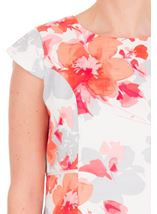 Anna Rose Fitted Print Midi Dress Ivory/Watermelon - Gallery Image 4