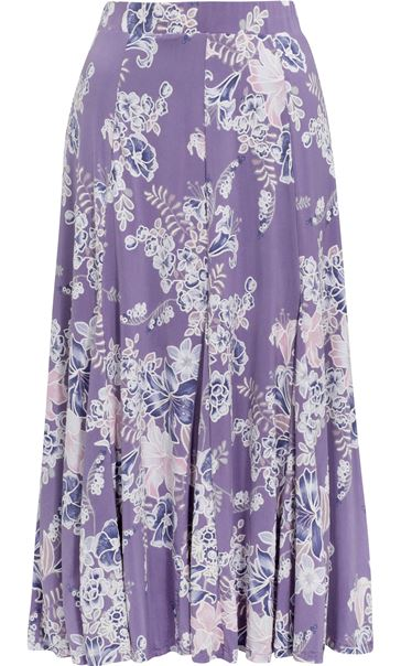 Anna Rose Panelled Floral Jersey Midi Skirt Lilac Multi