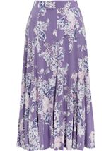 Anna Rose Panelled Floral Jersey Midi Skirt Lilac Multi - Gallery Image 1