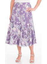 Anna Rose Panelled Floral Jersey Midi Skirt Lilac Multi - Gallery Image 2