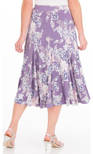 Anna Rose Panelled Floral Jersey Midi Skirt Lilac Multi - Gallery Image 3